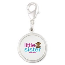 Monkey Big Sister Silver Round Charm