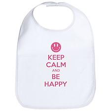 Keep Calm And Be Happy Bib