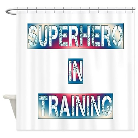 Superhero in training shower curtain by deluciousdesigns for Superhero shower curtain