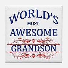 World's Most Awesome Grandson Tile Coaster
