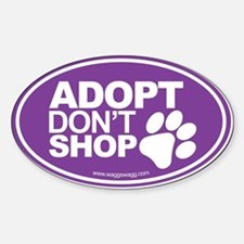 Adopt Don't Shop EURO Oval Stickers Bumper Stickers