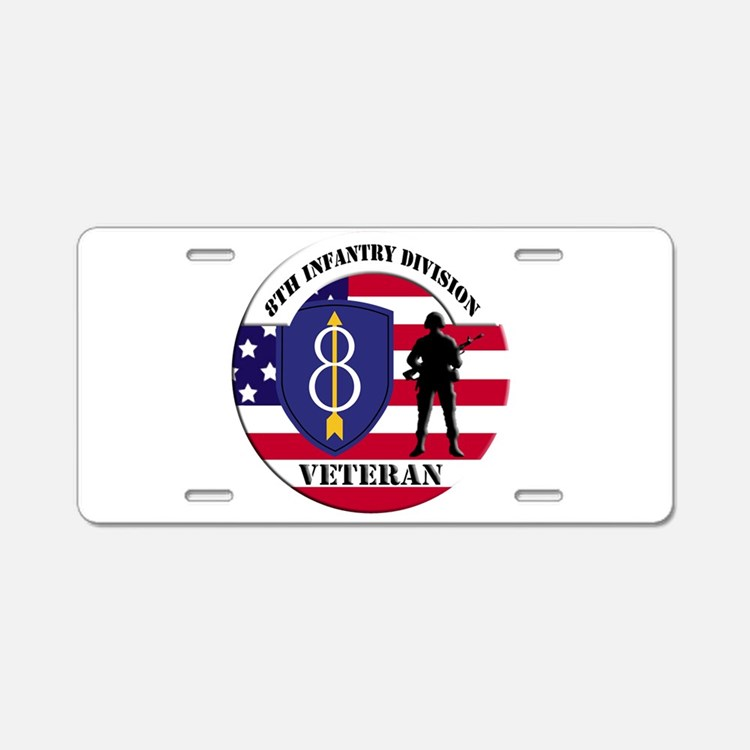 8th Infantry Division Aluminum License Plate