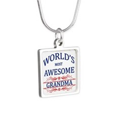World's Most Awesome Grandma Silver Square Necklac