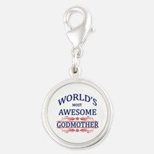 World's Most Awesome Godmother Silver Round Charm
