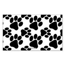 Black Dog Paws on White Bumper Stickers