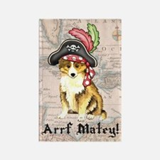 Sheltie Pirate Rectangle Magnet