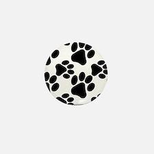 Black Dog Paws on White Mini Button
