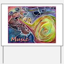 Music, colorful art Yard Sign