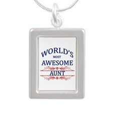 World's Most Awesome Aunt Silver Portrait Necklace
