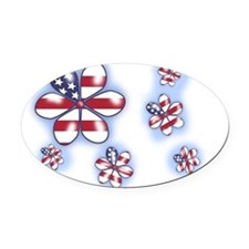 USA Flowers (sc) Oval Car Magnet