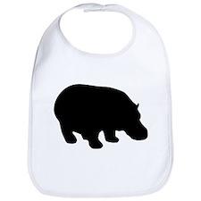 Black Hippo Silhouette Bib
