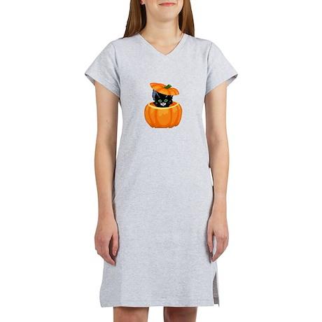 Cute Black Cat in Pumpkin Women's Nightshirt