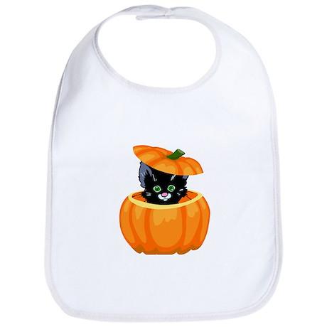 Cute Black Cat in Pumpkin Bib