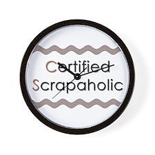 Certified Scrapaholic Wall Clock