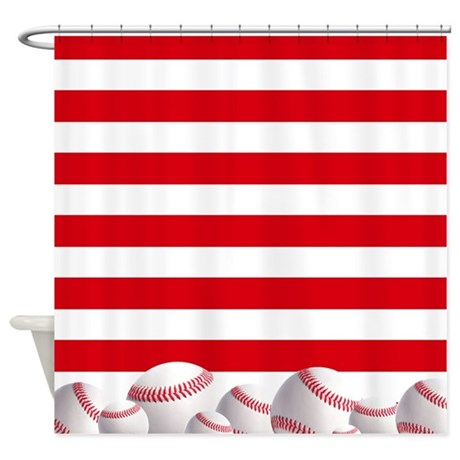 Baseball Red And White Stripes Shower Curtain By Inspirationzstore