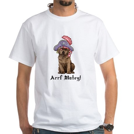 Chocolate Lab Pirate White T-Shirt