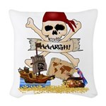 Pirate Day Icons Woven Throw Pillow
