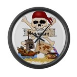 Pirate Day Icons Large Wall Clock