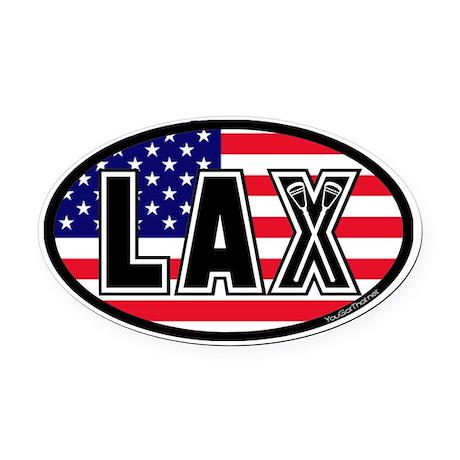 Lacrosse America Oval Car Magnet