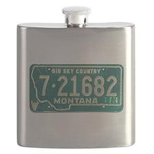 1974 Montana License Plate Flask