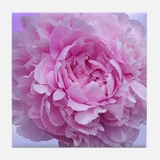 Pink Peony Flower Tile Coaster