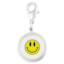 Keep Calm And Be Happy Silver Round Charm