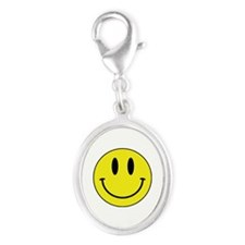 Keep Calm And Be Happy Silver Oval Charm