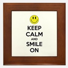 Keep Calm And Smile On Framed Tile