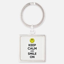 Keep Calm And Smile On Square Keychain
