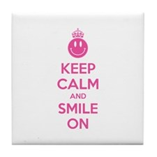 Keep Calm And Smile On Tile Coaster