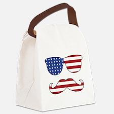 Patriotic Funny Face Canvas Lunch Bag
