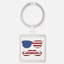 Patriotic Funny Face Square Keychain