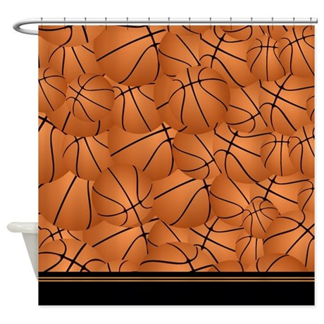 Orange And Black Basketball Shower Curtain By InspirationzStore