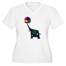 Funny Elephant with Beachball Art Plus Size T-Shir
