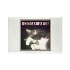 Funny 50th Birthday (Cat) Rectangle Magnet
