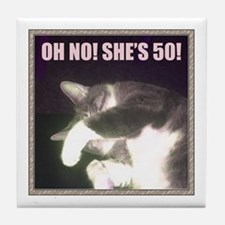 Funny 50th Birthday (Cat) Tile Coaster