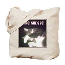 Funny 70th Birthday (Cat) Tote Bag