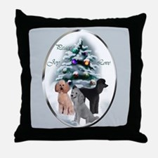Poodle Christmas Throw Pillow