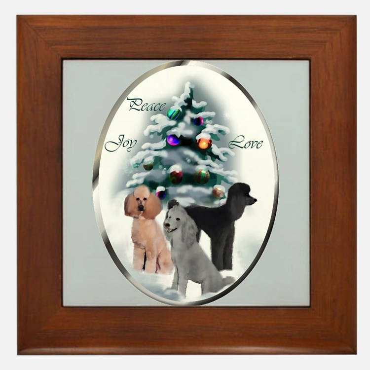 Poodle Christmas Framed Tile