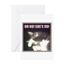 Funny 90th Birthday (Cat) Greeting Card