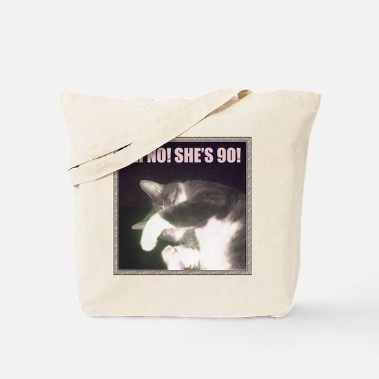 Funny 90th Birthday (Cat) Tote Bag