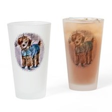 Poodle Christmas Drinking Glass