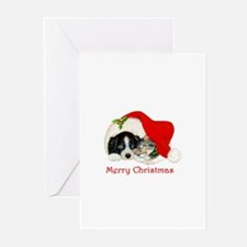 Christmas Border Collie puppy and kitten Greeting