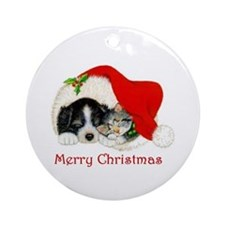 Christmas Border Collie puppy and kitten Ornament