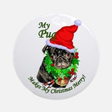 Pug Christmas Ornament (Round)