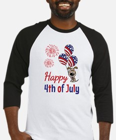 Happy 4th Doggy with Balloons Baseball Jersey