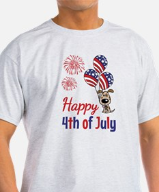 Happy 4th Doggy with Balloons T-Shirt