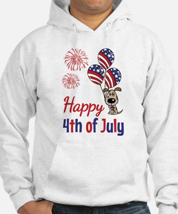 Happy 4th Doggy with Balloons Hoodie