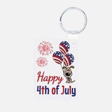 Happy 4th Doggy with Balloons Keychains