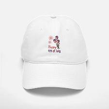 Happy 4th Doggy with Balloons Baseball Baseball Baseball Cap